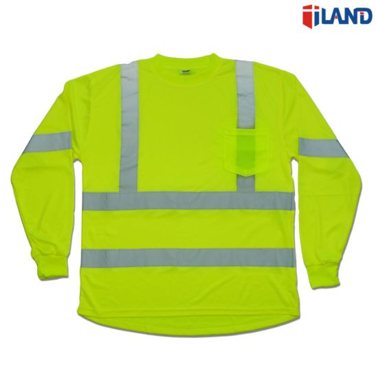 dc79e308586 Long Sleeve Hi-Visibility Fluorescent Double Reflective Tape Safety T Shirt  - China High Visibility T Shirt