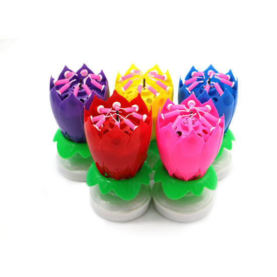 Wholesale Rotating Best Selling Flower Firework Musical Happy Birhtday Candle with Double Layers pictures & photos