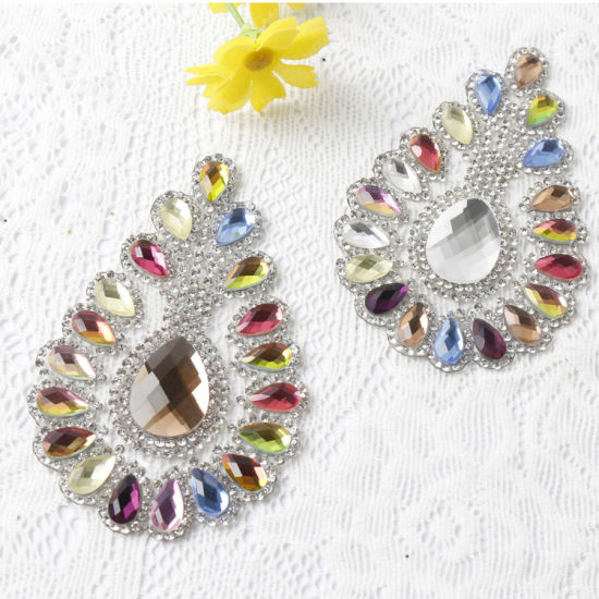 Colorful Iron on Applique Hotfix Crystal Applique Rhinestone Patch pictures & photos