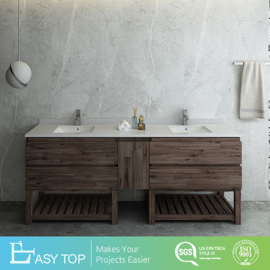 Woode Tones Solid Pine Drawers Open Bottom Double Sink Modern Bathroom Cabinet