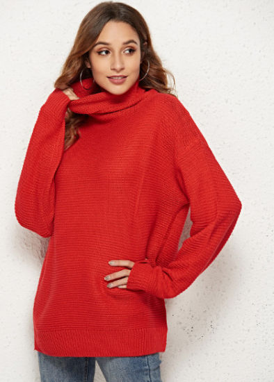 New Design Women Cardigan Casual Loose Turtleneck Sweater