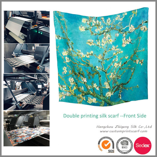 Custom Design Double Print Lady Silk Scarf