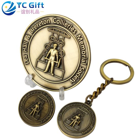 Factory Custom 2D Antique Bronze Metal Badge Keychain Personalized History Culture Corporate Award Gift Art Crafts Kuwait Military Tourist Souvenir Replica Coin