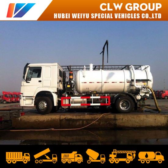 HOWO 4*2 Vacuum Slurries Sludges Sewer Sewage Suction Tank Truck 8000 Liters Municipal Equipment