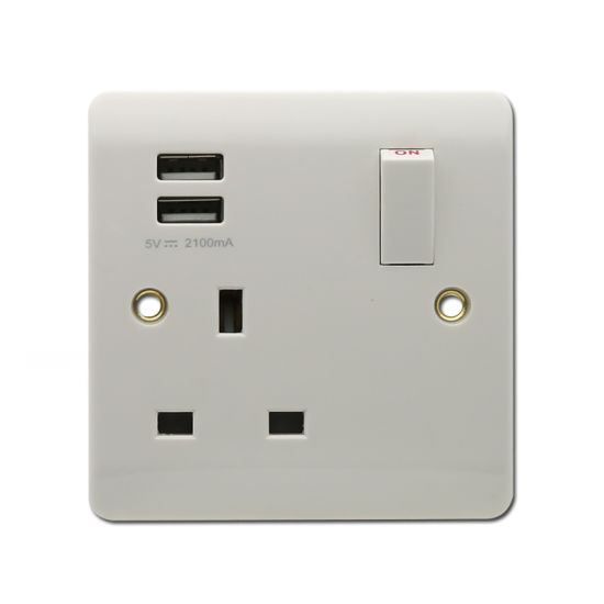 Stock 1 Gang 13A UK Socket with 2 USB Port Electrical Wall Socket