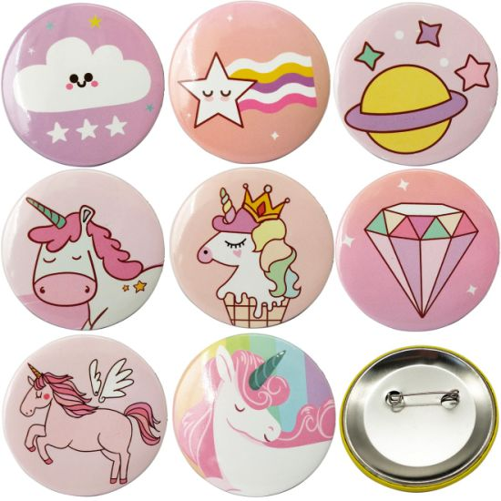 Cheap Price Custom Paper Plastic Stamping Tinplate Brooch Colorful Cartoon Company Activity Souvenir Tin Button Badges School Sport Pin for Promotional Items