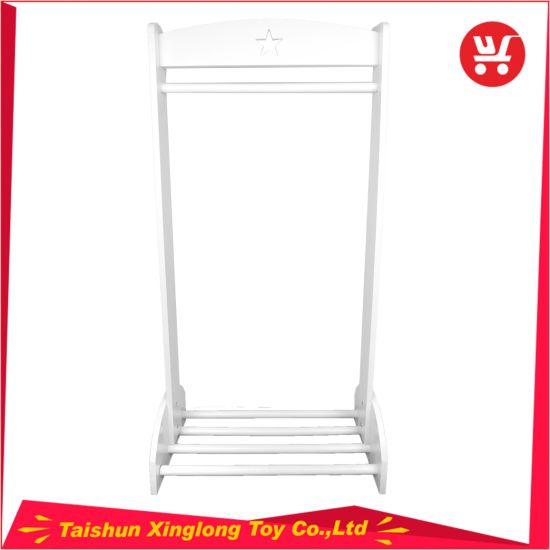 White Wooden Clothing Rack with Shelves Children Clothing Rack