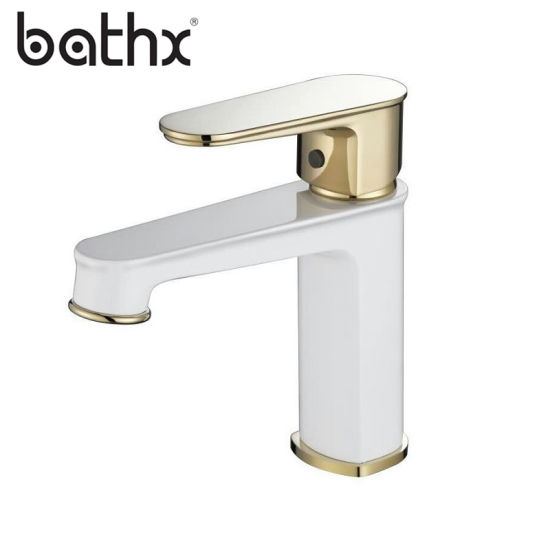 Brushed Gold And White Bathroom Faucets