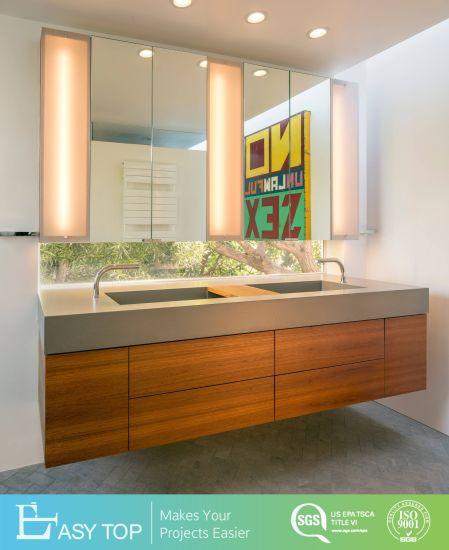 Wood Grain Solid Wood Single Bathroom Vanity with Sink