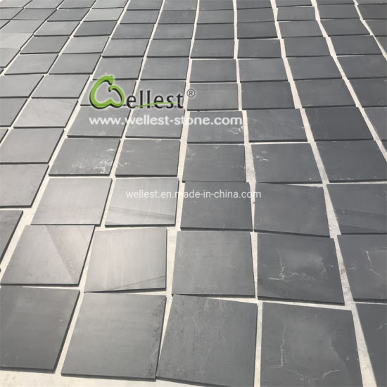 Flooring Tiles Honed Black Slate 300X300X10mm pictures & photos