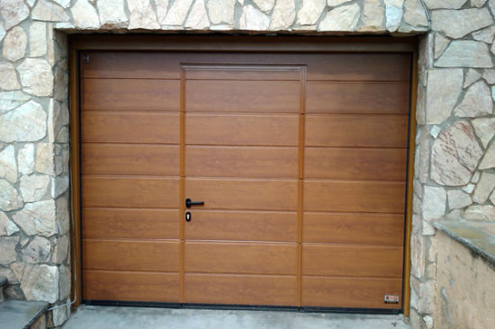 Oak Wood Color Steel Garage Door --- Remote Control Sectional Garage Door pictures & photos