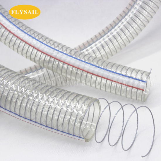 Clear/Transparent Flexible PVC Spring Hose for Transfering Water Oil and Powder OEM