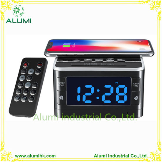 Wireless Charging Alarm Clock Docking Station Music Player Desktop pictures & photos