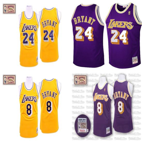 559b7a75ab06 Los Angeles Lakers Kobe Bryant Cooperstown Throwback Turn-Back Basketball  Jerseys