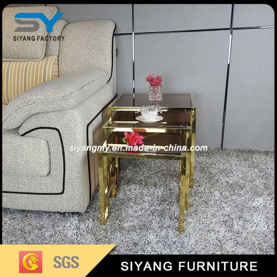 Chinese Tea Table Set Glass Coffee Gold Side