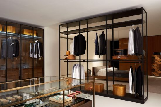 Wooden Wardrobe Glass Door Walk In Closet Bedroom