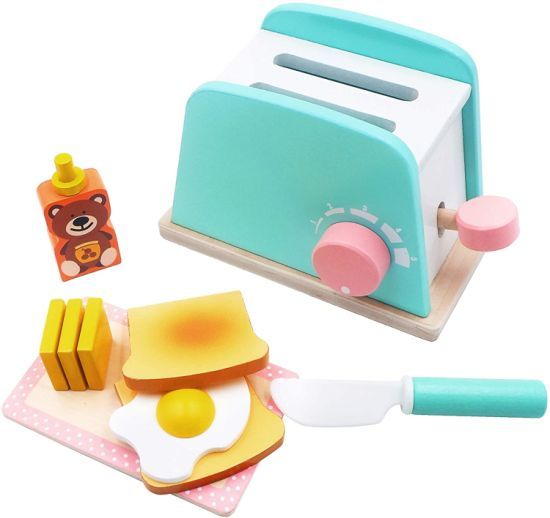 Toy Kitchen Wooden Pop-up Toaster Play Set 10 PCS pictures & photos