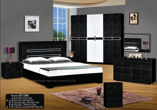 China 2013 Hot In The Middle East Bedroom Sets Home Furniture Bedroom Furniture Combine Black And White Color China Bedroom Sets Mdf Furniture