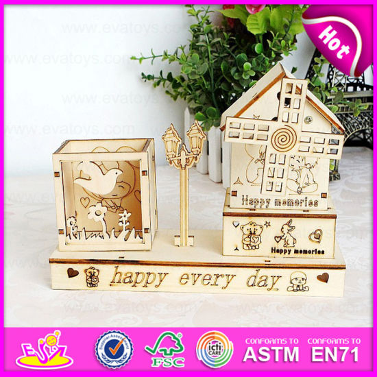 2015 Cartoon Wooden Pencil Vase for Kids with Music Box, Wooden Pencil Holder, Wooden Music Box, Wooden Crafts W02A031 pictures & photos