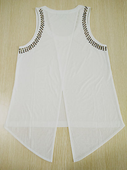 Women Fashion Clothes Swallow-Tailed Vest Polyester Girl Tank Top pictures & photos
