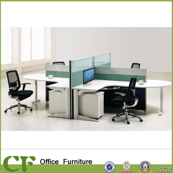 L Shaped Table Top Glass Material Workstation Partitions