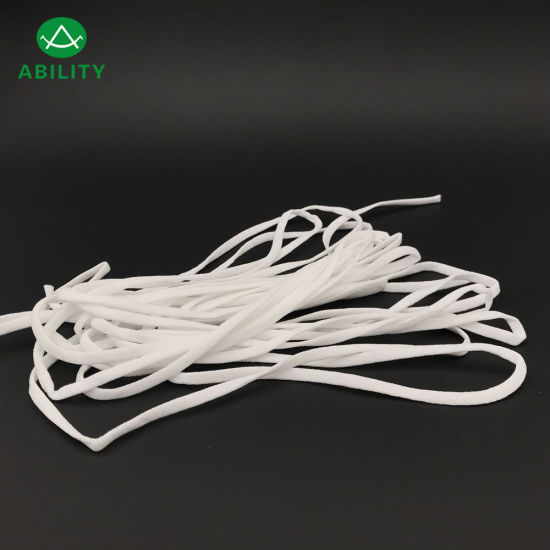 3mm 4mm 5mm 6mm White Flat Soft Earloop Elastic for Face Mask