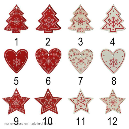 10PCS/Set White Red Christmas Tree Ornament Wooden Hanging Pendants Home Decoration