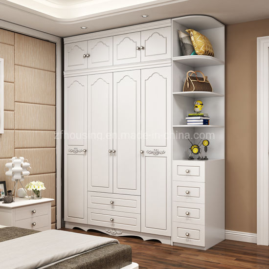 White Paintiing Wooden Bedroom Wardrobe