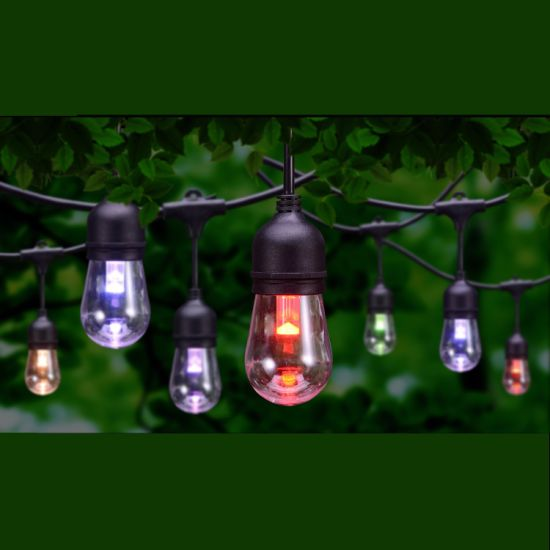Color Changing Outdoor RGB Cafe LED String Lights with Shatterproof Edison Bulbs