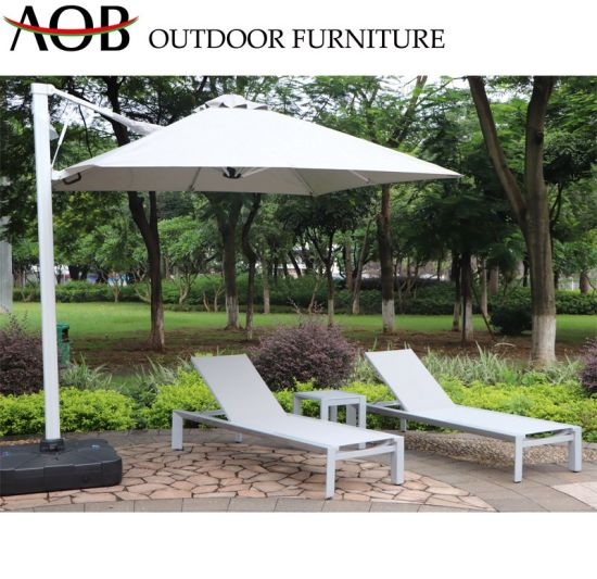 Modern Outdoor Garden Home Patio Resort Textilene Beach Chair Sun Lounger Daybed Sunbed Furniture with Umbrella