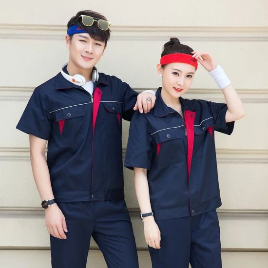 Custom Short Sleeve Workwear Construction Worker Uniform Solid Color Working Clothes