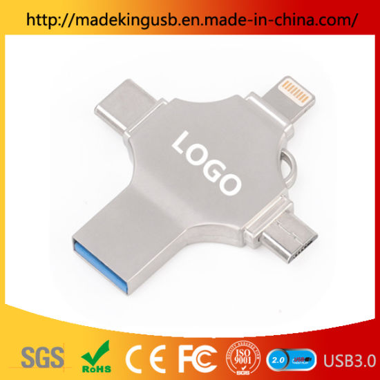 2019 The Latest 4 in One OTG USB Flash Drive with Multi Function Supporting The Port of Type C, iPhone and Android