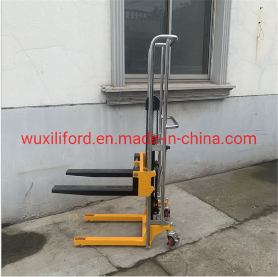 400kg Adjustable Fork Hand Stacker with 850mm Lifting Height