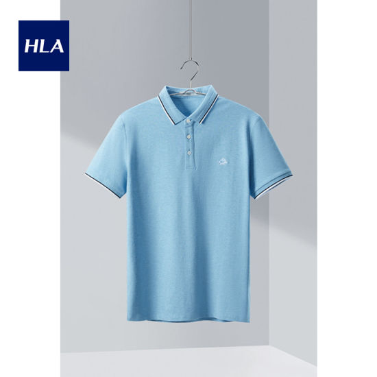 Hla Elegant Lapel Short Sleeve Polo 2020 Summer New Chest Embroidery Short T Male