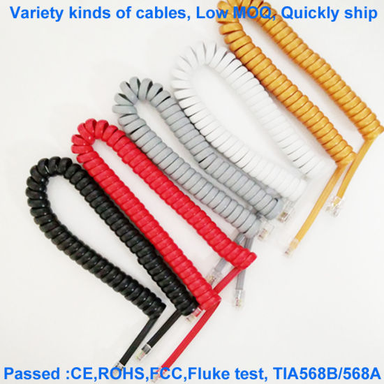 20251 Silver Gray 4-Core Flat Telephone Cable Four-Core 28AWG Oxygen-Free Copper Telephone Curve