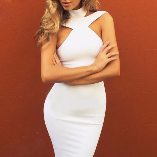 ac0f7ed0e5 New Winter Fashion Sexy off Shoulder Dress Halter Bandage Dress White Dress