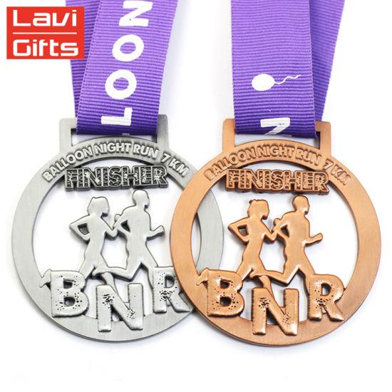 Metal Black Wholesale Cheap Nickel Medallions Medal with Custom Ribbon