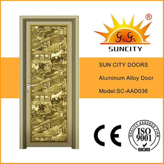 Top Design Golden Flush Aluminum Glass Doors (SC-AAD036)