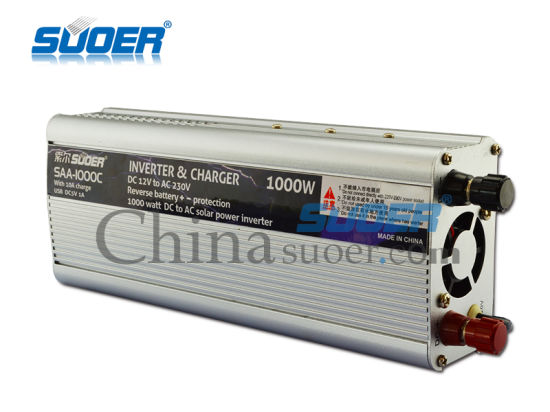 Suoer Two in One 1000W DC to AC 12V Power Inverter with 10A Charger (SAA-1000C) pictures & photos