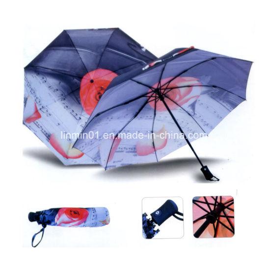 Auto Open Auto Close Rain Sun Gift Folding Umbrella with Printing