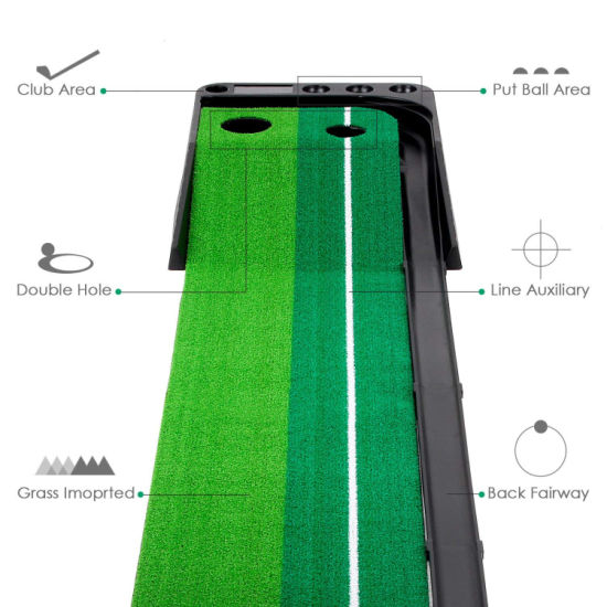 Dual-Track Putting Indoor Golf Simulator Practice Mat with Ball Return pictures & photos