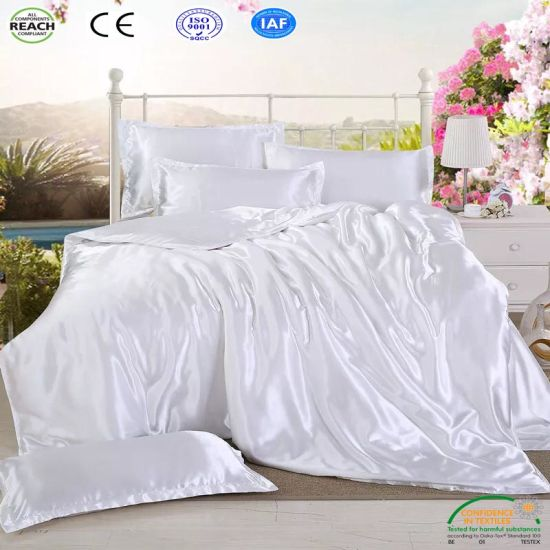 China Cheap White Black Satin Silk Bed Sheets For Sale Bedding Sets