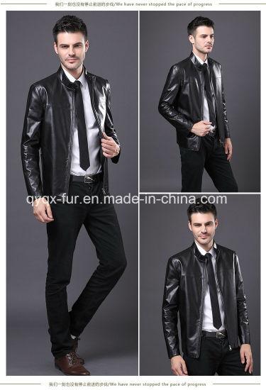 2015 Popular Black Leather Jacket for Men