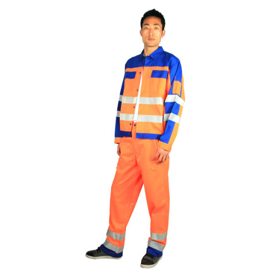 240g Tc80/20 High-Vis Orange Reflective Jackets and Pants