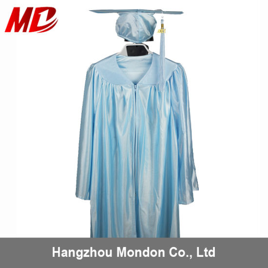 China Kindergarten Graduation Cap And Gown Shiny Sky Blue China