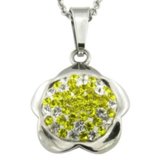 Flower Shape with CZ Shiny Stone Steel Pendant Necklace