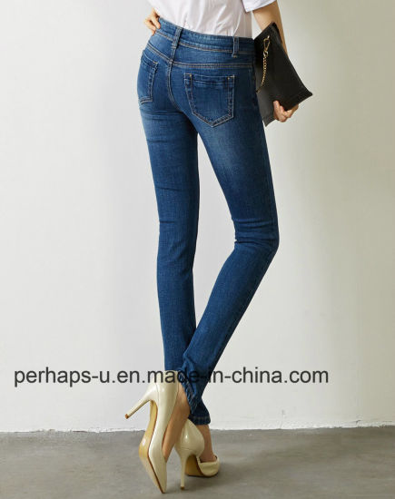 High Quality Women Dark Blue Stretch Slim Denim Jeans Long Pants pictures & photos