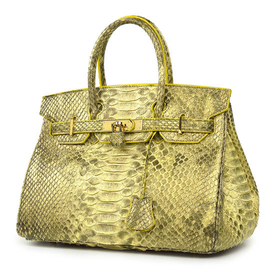 Famous Brand Design Handmade Real Python Skin Leather Female Handbag with Cites Certificate pictures & photos