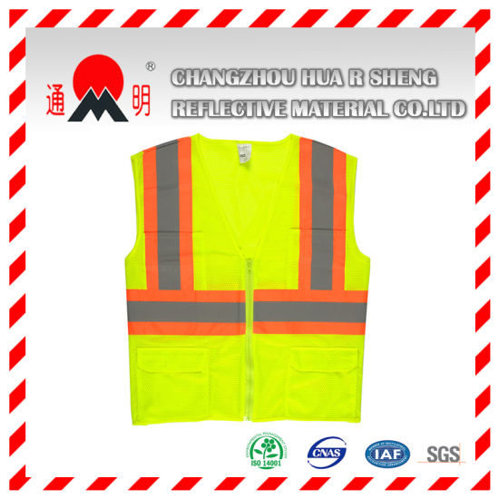Yellow-Green Reflective Vest with High Visibility Reflective Strips (vest-3) pictures & photos