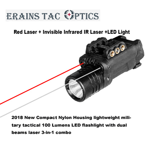 2018 New Nylon Housing Lightweight Military Tactical 120 Lumens LED Torch Light with Dual Red Laser and Invisible IR Laser Sight 3 in 1 Laser Flashlight Combo